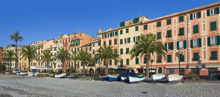 promenade of Santa Margherita ligura, famous small town in liguria, Italy, with the characteristic painted houses