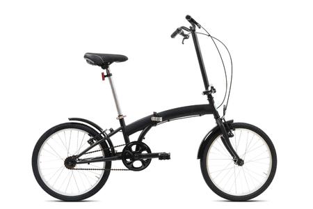 Photo pour Black folding bicycle isolated on white background - image libre de droit