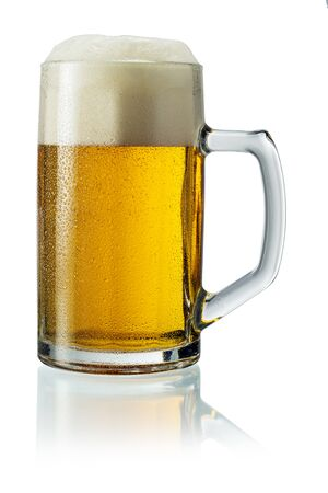 Photo pour Pitcher of Beer with Foam isolated on white - image libre de droit