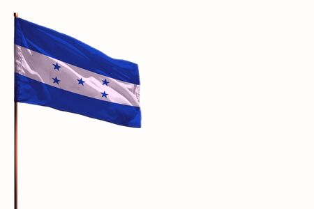 Fluttering Honduras flag isolated, mockup with the place for your text on white background.