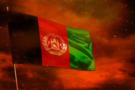 Photo pour Fluttering Afghanistan flag on crimson red sky with smoke pillars background. Afghanistan problems concept. - image libre de droit