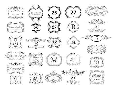Illustration for Vintage page ruler, dividers, title and headers vector set. Black and white retro design - Royalty Free Image