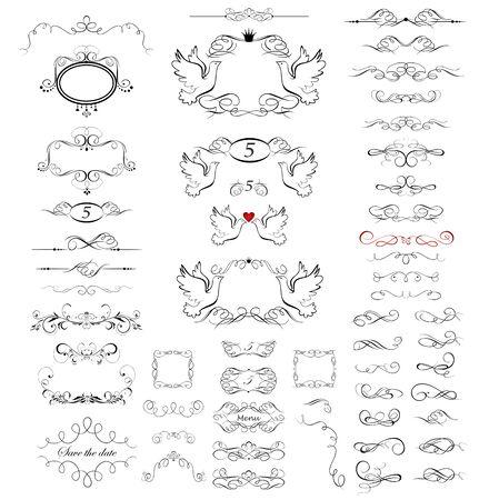 Illustration pour Collection of beautiful frames, vignette, scroll and headers for wedding design - image libre de droit