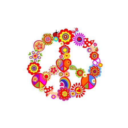 Illustration for Fashion colorful print with groovy Peace Hippie Symbol with flower-power, fly agaric, rainbow for T shirt, bag, textile on the white background - Royalty Free Image