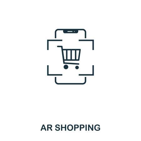 Ar Shopping icon. Mobile app, printing, web site icon. Simple element sing. Monochrome Ar Shopping icon illustration