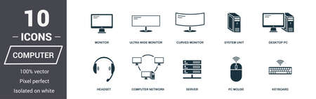 Illustration pour Computer icons set. Premium quality symbol collection. Computer icon set simple elements. Ready to use in web design, apps, software, print - image libre de droit