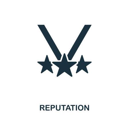 Photo pour Reputation icon. Monochrome style design from management collection. UI. Pixel perfect simple pictogram reputation icon. Web design, apps, software, print usage. - image libre de droit