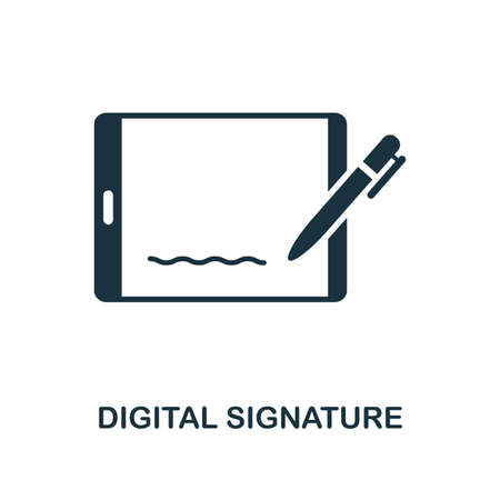 Illustration pour Digital Signature icon. Monochrome style design from blockchain collection. UX and UI. Pixel perfect digital signature icon. For web design, apps, software, printing usage. - image libre de droit