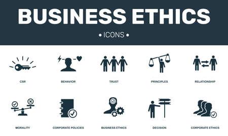 Photo pour Business Ethics set icons collection. Includes simple elements such as CSR, Behavior, Trust, Principles and Morality premium icons. - image libre de droit