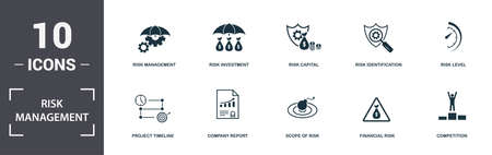 Photo pour Risk Management icons set collection. Includes simple elements such as Project Duration, Project Timeline, Company Report, Scope Of Risk, Financial Risk, and Church premium icons. - image libre de droit