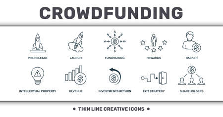 Crowdfunding icons thin line set collection. Includes creative elements such as Pre-Release, Launch, Fundraising, Rewards, Backer, Revenue and Investments Return premium icons.
