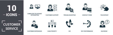 Foto de Customer Service icon set. Contain filled flat computer-telephony integration, customer experience, helpdesk, key performance, touchpoint, troubleshooting icons. Editable format. - Imagen libre de derechos