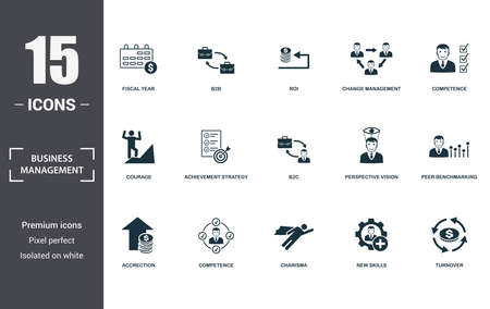 Photo pour Business Management icon set. Contain filled flat charisma, competence, competence, achievement strategy, perspective vision, courage, new skills, accrection icons. Editable format. - image libre de droit
