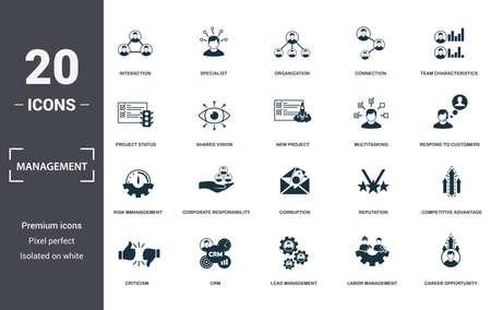 Photo pour Management icons set collection. Includes simple elements such as Interaction, Specialist, Organization, Connection, Team Characteristics, Corporate Responsibility and Corruption premium icons. - image libre de droit
