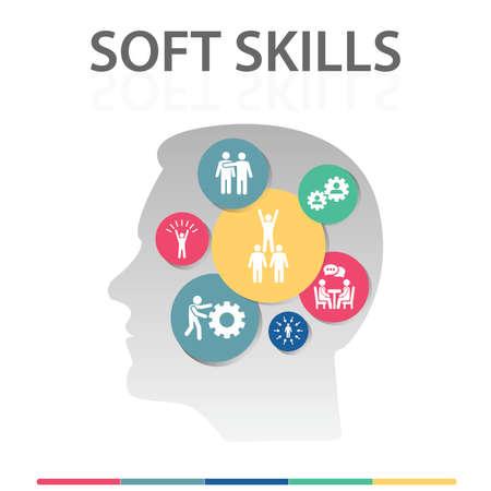 Illustration pour Soft Skills Infographics vector design. Timeline concept include team spirit, empathy, assertiveness icons. Can be used for report, presentation, diagram, web design. - image libre de droit