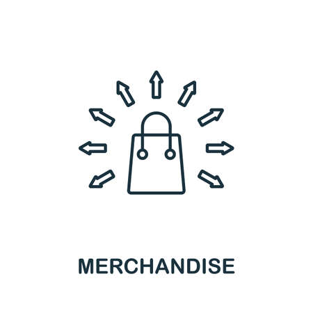 Illustration for Merchandise line icon. Thin style element from business administration collection. Simple Merchandise icon for web design, apps and software. - Royalty Free Image