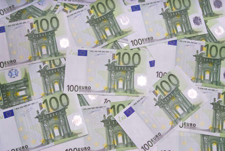 Hundred euro notes shot from above