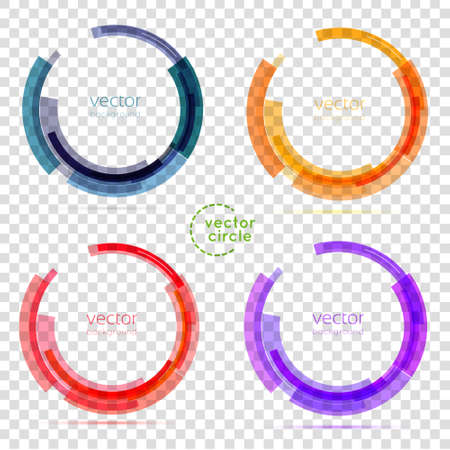 Ilustración de Circle set. Vector illustration. Business Abstract Circle icon. Corporate, Media, Technology styles vector logo design template. transparent - Imagen libre de derechos