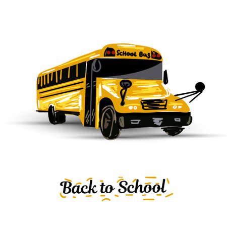 Illustration for Illustration of school kids riding yellow schoolbus transportation education - Royalty Free Image