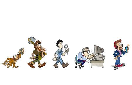 Illustration pour The evolution of work - image libre de droit