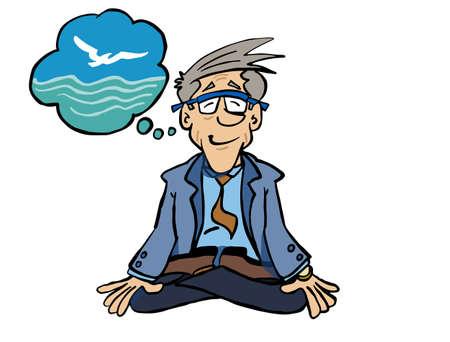Ilustración de Character Bertrand sitting in Lotus position and meditating. - Imagen libre de derechos
