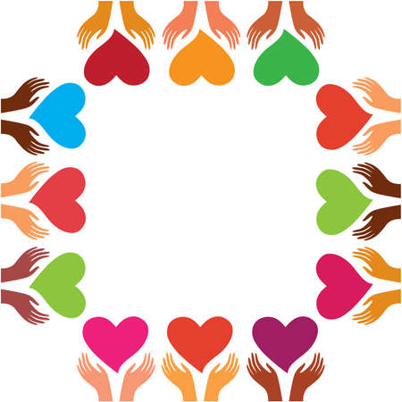 template for greetings Happy Valentine's Day - the hands of people the earth with hearts