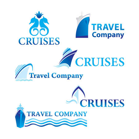 Travel and Cruises. Set of corporate logo templates. Just place your own brand name.