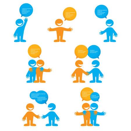 Illustration pour Collection of people with bubbles for dialogue.  - image libre de droit