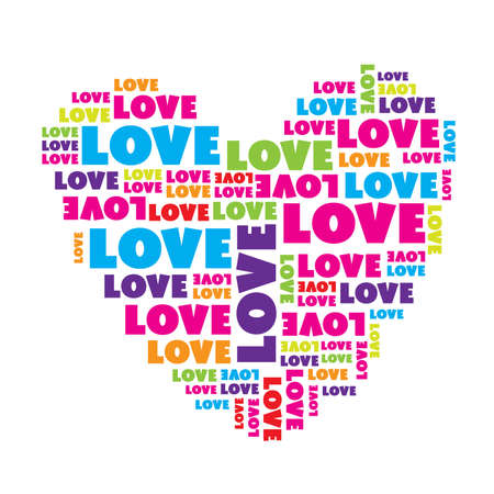 Love sign. ��eart made of love words. Vector illustration.