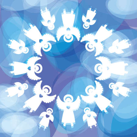 Illustration pour Magical Christmas background. Snowflake of the angels. Template for the text. Vector. - image libre de droit