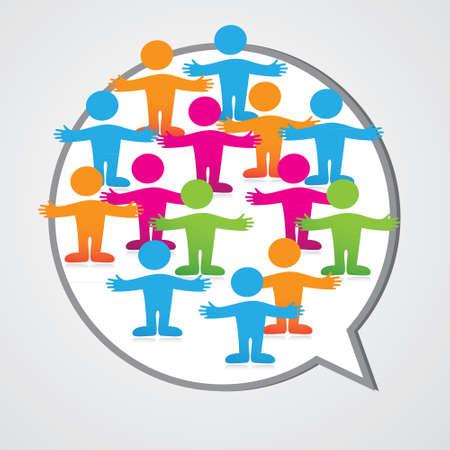 Social media people inner circle Speech Bubble.