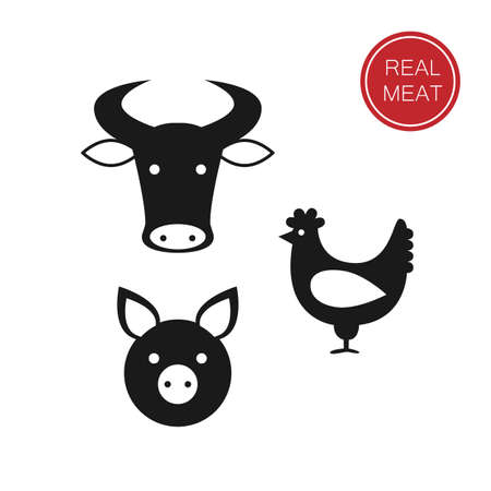 meat - a template for the sign, logo or icon, or a grocery store meat, the designation of meat products.