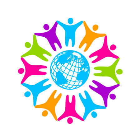 People around the planet. Template logo for the company, association, foundation, association.