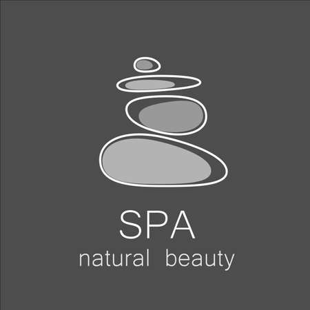 Illustration for SPA - template logo for Spa lounge, beauty salon, massage area, yoga center, natural cosmetics etc.. The balancing cairn - a symbol of harmony, tranquility and relaxation. - Royalty Free Image