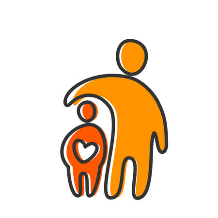 Illustration for Parent. Template design for an icon. Symbol of protection, care and love for children. - Royalty Free Image