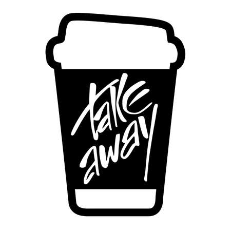 Illustration pour Takeaway. Take away coffee. Take away coffee cup isolated on white  background.  Vector illustration. - image libre de droit