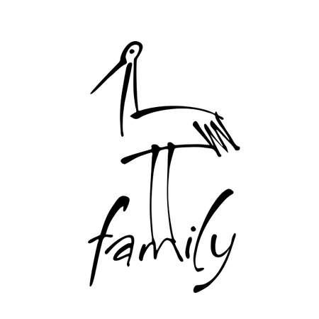 Illustration for Inscription with a stork. Logo template for maternity hospital, social organization, kindergarten, children's home, support center for parents with children. Vector illustration. - Royalty Free Image