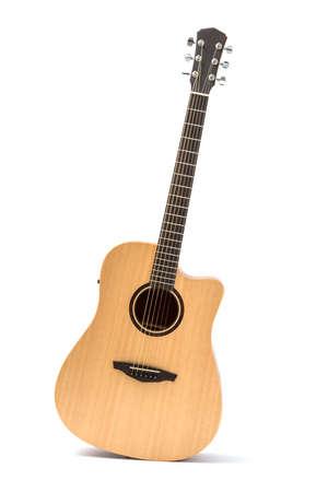 Photo pour acoustic guitar isolated white background - image libre de droit