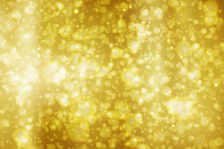 Illustration pour Abstract colorful bokeh and glowing spakling shining particles in random gold color theme background. Lighting effects of flash. Blurred vector background with light glare, EPS10 illustration. - image libre de droit