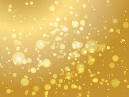 Illustration for Abstract colorful bokeh and glowing spakling shining particles in random gold color theme background. Lighting effects of flash. Blurred vector background with light glare, EPS10 illustration. - Royalty Free Image