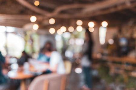 Photo pour Blur coffee and restutant cafe with customers background vintage tone color style. - image libre de droit