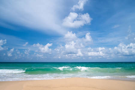 Photo pour Tropical nature clean beach and white sand in summer with sun light blue sky and bokeh abstract  background. - image libre de droit