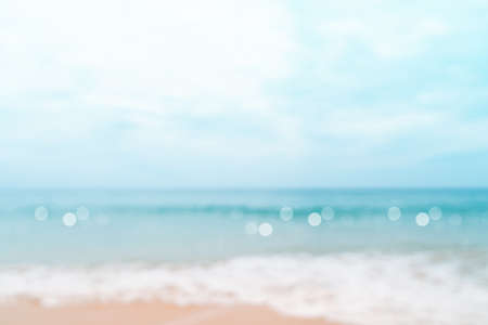 Photo for Blur tropical nature clean beach and white sand in summer with sun light blue sky and bokeh abstract  background. - Royalty Free Image