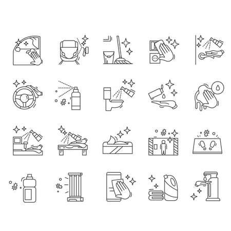 Illustration pour Surface disinfection icons set. Surface cleaning simple vector illustration. - image libre de droit