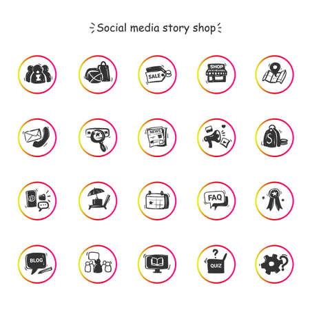 Illustration pour Social media store icons set - image libre de droit