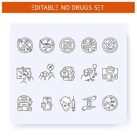 Illustration pour Stop drugs line icons set. Editable illustration - image libre de droit