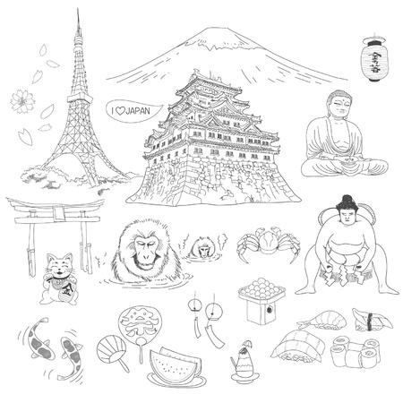 Japanese culture element doodles