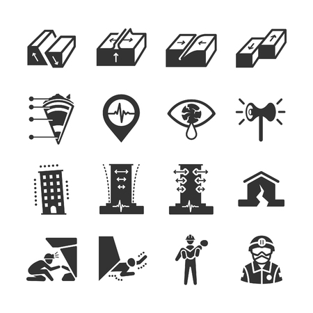 Earthquake and geology icons - Illustration
