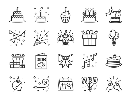 Illustration pour Happy Birthday Party line icon set. Included the icons as celebration, anniversary, party, congratulation, cake, gift, decoration and more. - image libre de droit