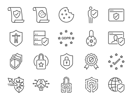 Illustration pour Privacy policy icon set. Included the icons as security information, GDPR, data protection, shield, cookies policy, compliant, personal data, padlock Vector illustration. - image libre de droit